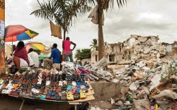 A footwear stand in Port-au-Prince