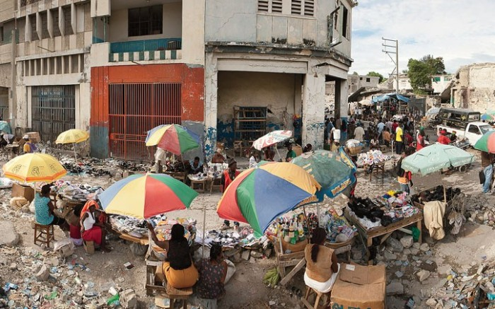 A food and goods market amid the ruins in Port-au-Prince nearly five months after a massive earthquake