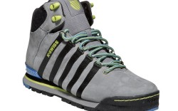 Striped sneaker with neon accents from K-Swiss