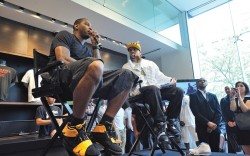 Carmelo Anthony promoting the launch of the Jordan Future Sole M6 at House of Hoops in Harlem