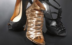 Pour La Victoires bejeweled satin peep-toe pump DKNYs strappy gold bootie with mesh BCBG Max Azrias beaded T-strap sandal