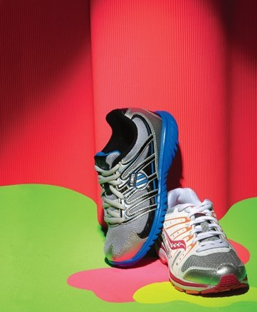 K-SWISS&#8217 sneaker with flexible Blade-Light outsole and SAUCONY&#8217s running style with non-visible grid for heel cushioning