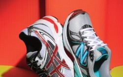 ASICS&#8217 running shoe with three-piece outsole and Gel cushioning in rear and forefoot NEW BALANCE&#8217s mesh-and- synthetic style with NB Pulse cushioning technology