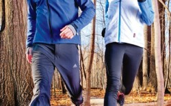 Him SOLOMON&#8217s winterized trail runner Zip-up by K-Swiss pants by Adidas Her Seamless-upper shoe with Ion Mask waterproofing by HI-TEC Zip-up from Saucony vest by Adidas leggings by New Balance