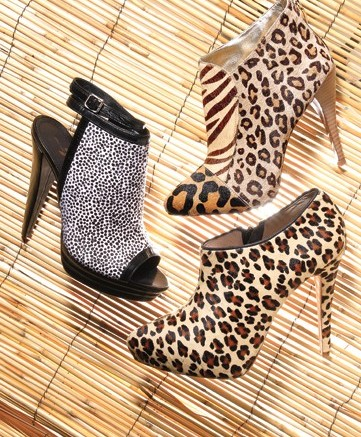 Clockwise from top GUESS&#8217 patchwork animal-print bootie POUR LA VICTOIRE&#8217s leopard-print calf-hair bootie SEVEN FOR ALL MANKIND&#8217s printed backless bootie with ankle strap