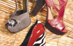 Clockwise from left STUART WEITZMAN&#8217s suede and calf-hair T-strap  NINE WEST&#8217s cut-out wooden platform sandal BEVERLY FELDMAN&#8217s suede patent and zebra-print wedge