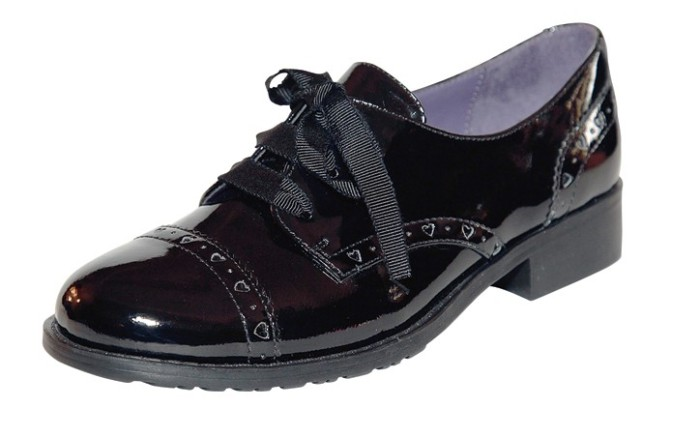 STUART WEITZMAN&#8217s patent leather style with grosgrain ribbon laces