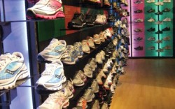 The shoe wall at the revamped Modell&#8217s flagship highlights better product