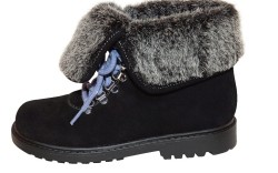 Black ankle boot with faux-fur cuff from STUART WEITZMAN