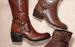 Clockwise from left CLARKS&#8217 knee-high  harness boot with chunky heel mid-calf boot with belting  from AEROSOLES ECCO&#8217s ankle style  with oversized buckle