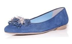 ARA&#8217s blue suede skimmer with pompom