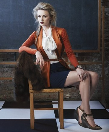 Blouse by Hunter Dixon sweater and skirt by Ports 1961 fur by Adrienne Landau watch by Tommy Hilfiger