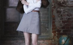 POUR LA VICTOIRE&#8217s leather slingback kitten heels Blouse by Burberry skirt by Theory fur by Adrienne Landau
