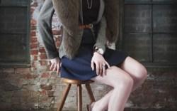 PURA LOPEZ&#8217s leather pointy toe slingback kitten heels Top by Joie skirt by Rebecca Taylor blazer by Daftbird fur by Adrienne Landau watch by Tommy Hilfiger rings are stylist&#8217s own