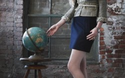 SCHUTZ&#8217 suede pumps with stacked wooden heels Blazer by Rebecca Taylor skirt by Burberry fur by Adrienne Landau watch by Tommy Hilfiger