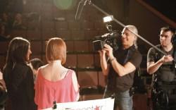 Rachel Fishbein and Shannon Ramiza being filmed