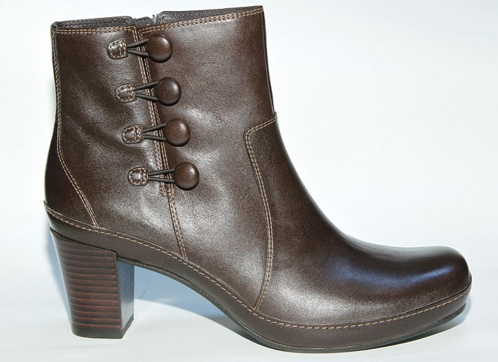 CLARKS' tailored boot on stacked mid-heel