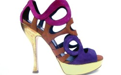 JEROME C ROUSSEAU&#8217s strappy sandal with metallic heel and platform