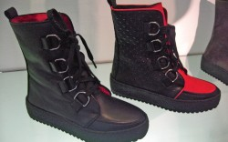Georgina Goodmans crepe-soled shearling-lined brothel creepers offered in color-blocked red and black