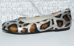 Pebbled-leather round-toe ballet flat by PAZITOS