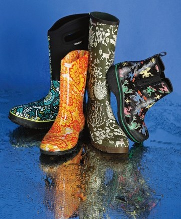 BOGS&#8217 Neopreen boot with paisley upper SLOGGERS&#8217 psychedelic floral-print style AIGLE&#8217s tall boot with woodland print DANSKO&#8217s multicolor frog-print ankle look