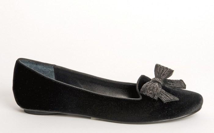 Velvet smoking slipper with bow by BEVERLY FELDMAN