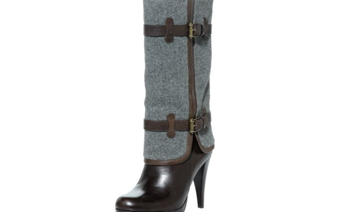 COLE HAAN&#8217s leather boot with fold-over flannel shaft