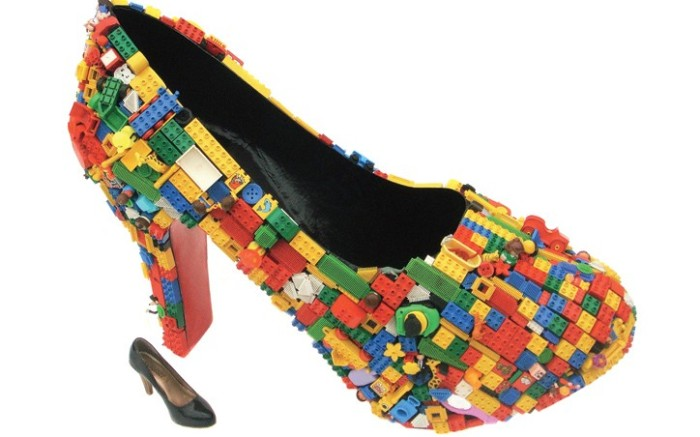 Finn Stone who creates furniture among other items recently unveiled a giant Lego-covered heel as part of his spring art collection