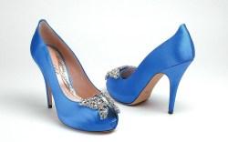 Aruna Seth embellished blue satin heels