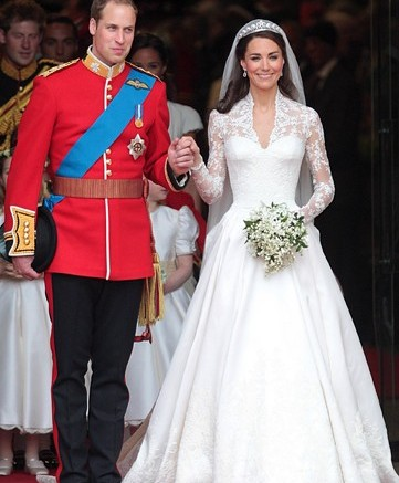 Prince William and his wife Catherine Duchess of Cambridge emerge from Westminster Abbey after the wedding ceremony