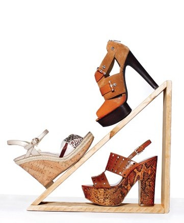 Clockwise from top MICHAEL MICHAEL KORS&#8217 cut-out wooden platform bootie GUESS&#8217 perforated sandal with snake-print platform ELAINE TURNER&#8217s cork wedge with animal-print satin