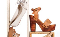 Clockwise from top ANNA BAIGUERA&#8217s woven flat with jewel details ROUGH JUSTICE&#8217s wooden platform with embossed leather JESSICA SIMPSON&#8217s platform sandal with woven leather straps FRYE&#8217s ankle-strap stacked wedge
