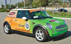 Sportie LA introduces branded Mini Cooper for same-day deliveries in Los Angeles in 2004