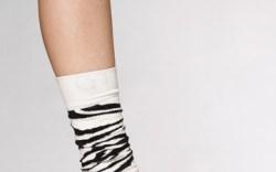 HAPPY SOCKS&#8217 zebra-print socks Suede cone heel by SEYCHELLES