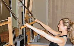 Pilates lover Blake Brody participates in a trial run of her newly launched In-Studio Footwear