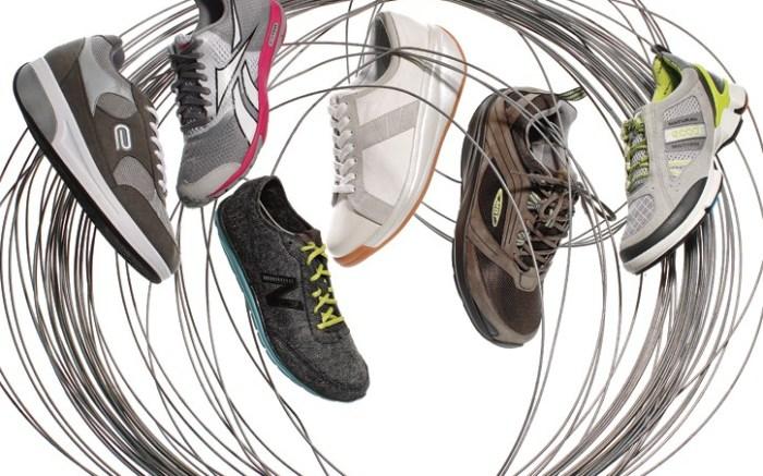 From left TENEVIS&#8217 men&#8217s style with mesh details Reebok&#8217s SlimTone women&#8217s sneaker New Balance&#8217s lightweight women&#8217s shoe Joya&#8217s monochromatic canvas style for men MBT&#8217s brown-on-brown men&#8217s sneaker Ecco&#8217s Biom walking style