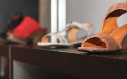 Shoes and sandals on display in Crimson Mims Los Altos location