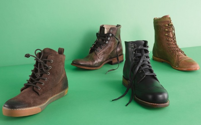 FROM LEFT BLACKSTONE&#8217s sneaker boot SENDRA BOOTS&#8217 leather look on a stacked heel a WOLVERINE 1000 MILE boot with speed lacing and a leather-soled boot featuring elastic laces by ROYAL ELASTICS
