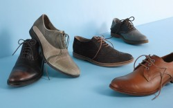 CLOCKWISE FROM FAR LEFT BEN SHERMAN&#8217s lace-up cap-toe DIESEL&#8217s perfed two- tone shoe LACOSTE&#8217s suede laceup with brogue detailing SPERRY TOP- SIDER&#8217s saddle shoe and a rounded-toe style by FRANK WRIGHT