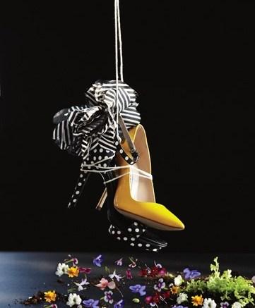 Beverly Feldman&#8217s polka-dot sandal with petal embellishments and Manolo Blahnik&#8217s patent pointy toe stiletto