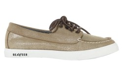 SEAVEES&#8217 boat moc in gold cracked suede