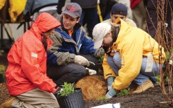 Swartz planting a tree with employees in 2005
