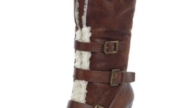Buckled wedge boot with lug sole by NINE WEST