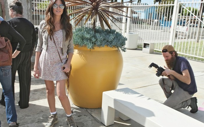 Actress Odette Annable behind the scenes at a Palladium video shoot