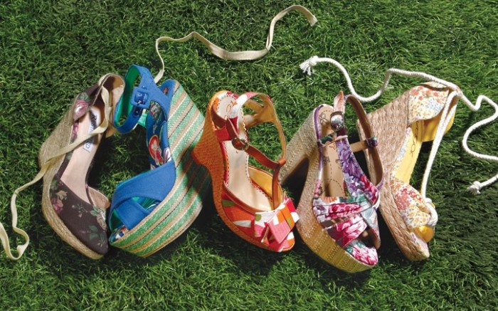 From left Restricted&#8217s canvas floral espadrille Ed Hardy&#8217s striped platform wedge Poetic Licence&#8217s T-strap with woven wedge Jelly Pop&#8217s floral platform sandal Sugar&#8217s espadrille with rope strap