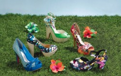 From left Paris Hilton&#8217s raffia pump with patent bow G by Guess&#8217 platform espadrille pump Mojo Moxy&#8217s patent ankle-strap sandal with flower detail Chinese Laundry&#8217s satin platform pump Rocket Dog&#8217s floral mid-heel sandal