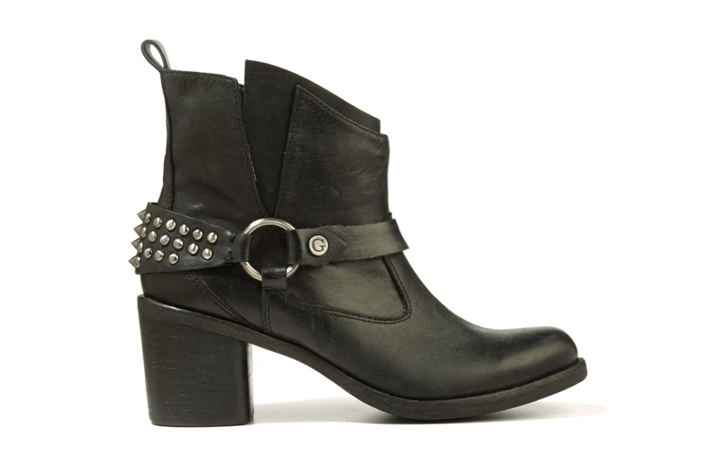 Guess' block-heel ankle boot with studded harness