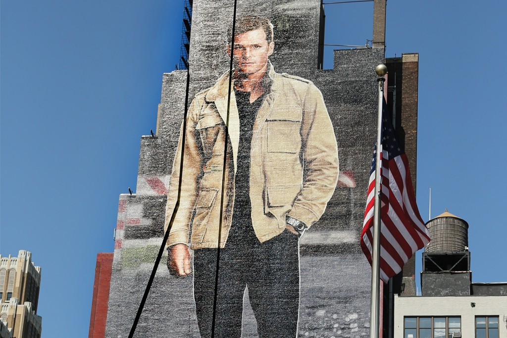 Ugg Australia's Tom Brady ad covers the side of a building near Madison Square Garden in Manhattan.