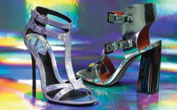 B Brian Atwoods embossed T-strap sandal and Rebecca Minkoffs chunky triple-buckle sandal