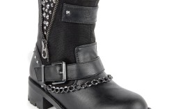 Guess ankle boot with zipper chain and stud accents